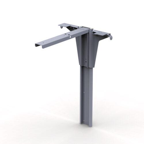 Gamba da tavolo pieghevole Van, altezza 600 mm, alluminio anodizzato