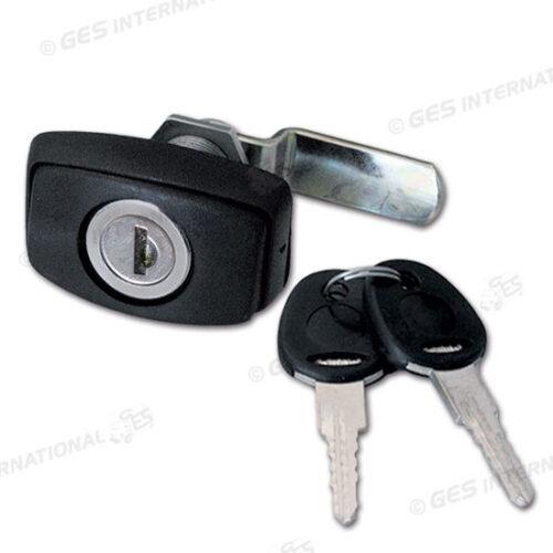 Serratura metallo nera con cilindretto e chiave