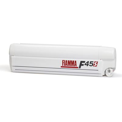 Veranda da Parete Fiamma F45S 260 Polar White Con Telo Royal Grey
